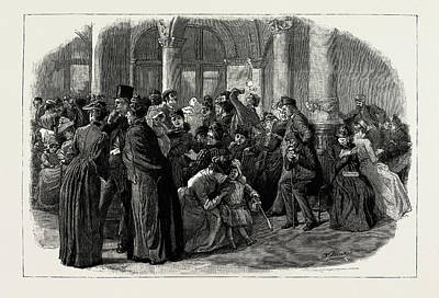 London Tube Drawing - The Season At Brighton, Uk, 1889 In The Underground Shelter by Litz Collection