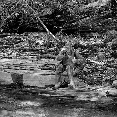 Photograph - The Seasoned American Fisherman Black And White by Joel E Blyler