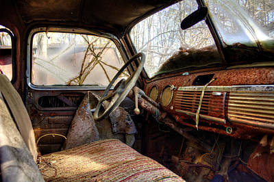 Old Photograph - The Seat Of An Old Truck by Greg Mimbs