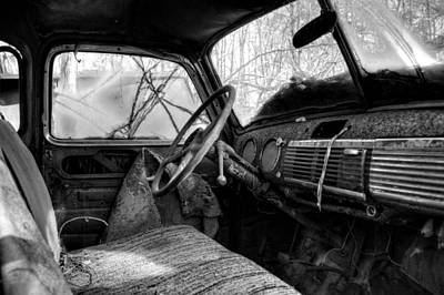 Old Photograph - The Seat Of An Old Truck In Black And White by Greg Mimbs