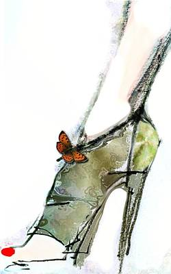 Fetish Art Mixed Media - The Second Butterfly Shoe by Carolyn Weltman