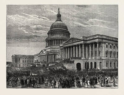 Us Grant Drawing - The Second Inauguration Of General Grant As President by American School