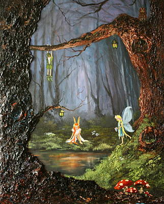 Toadstools Painting - The Secret Forest by Jean Walker