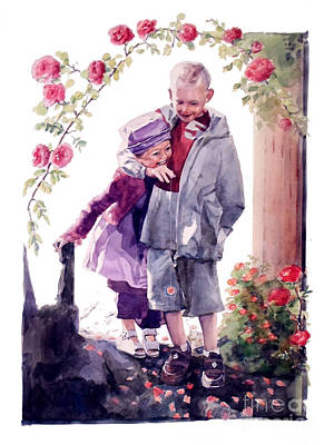 Painting - Watercolor Of A Boy And Girl In Their Secret Garden by Greta Corens