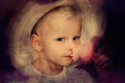 Child With Flowers Photograph - The Secret by Jenny Rainbow