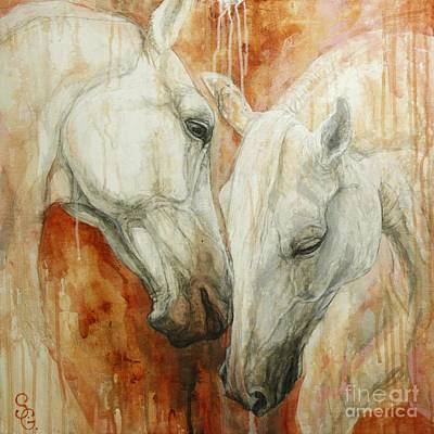Horses Portrait Painting - The Secret by Silvana Gabudean Dobre