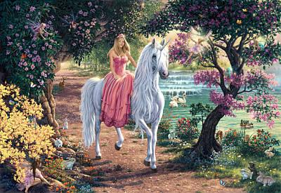 White Unicorn Photograph - The Secret Trail by Steve Read