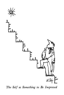 Staircase Drawing - The Self As Something To Be Improved by William Steig