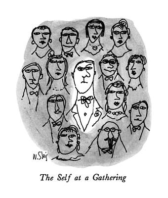Face Drawing - The Self At A Gathering by William Steig