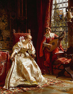 Antiquated Painting - The Serenade by Joseph Frederick Charles Soulacroix