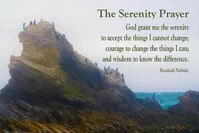 The Serenity Prayer Bird Rock Art Print
