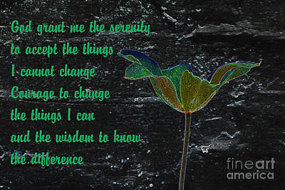 Morality Mixed Media - The Serenity Prayer 2 by Wendy Wilton