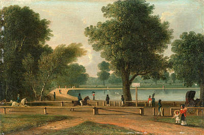 Hyde Park Painting - The Serpentine, Hyde Park, London, Attributed To George by Litz Collection