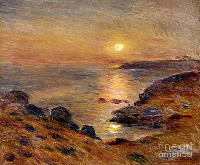 Reflecting Sunset Painting - The Setting Of The Sun At Douarnenez61 by Pierre Auguste Renoir