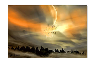 Art Print featuring the mixed media The Setting Sun Over The Rising Mist by Tyler Robbins