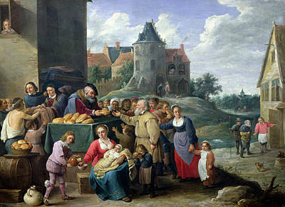 Stranger Photograph - The Seven Acts Of Mercy Oil On Card by David the Younger Teniers