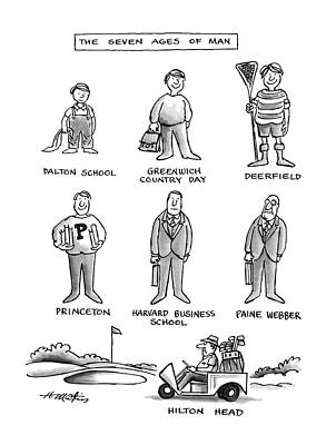 Golf Drawing - The Seven Ages Of Man by Henry Martin