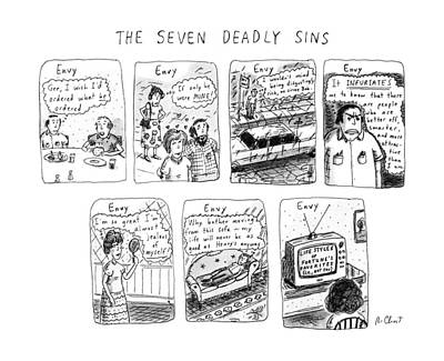 Etc Drawing - The Seven Deadly Sins by Roz Chast