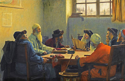 Rabbi Painting - The Seven Rabbis In Jerusalem by Theodoros Rallis