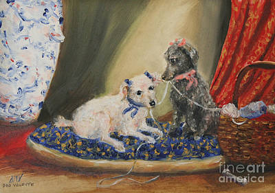 Painting - The Sewing Basket- Homeless Poodle Painting Violano by Stella Violano