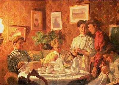 Gossip Photograph - The Sewing Group, 1909 Oil On Canvas by Nils Larson