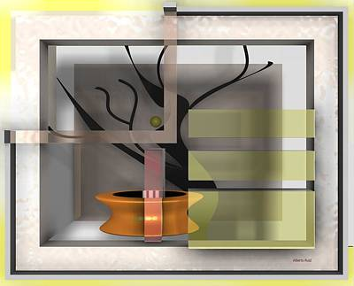 Abstract Digital Art - The Shade A Bonsai by Alberto  RuiZ