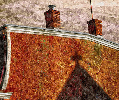 Painting - The Shadow Of The Church by Rick Mosher