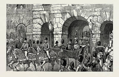 Buckingham Palace Drawing - The Shah Of Persia In England The Procession Passing by Litz Collection