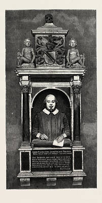 Stratford Drawing - The Shakespeare Memorial Bust And Tablet, Holy Trinity by English School