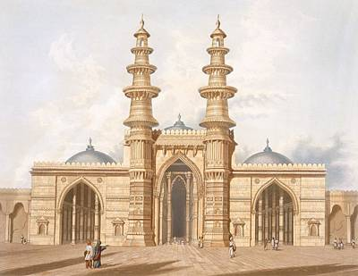 Entrance Door Drawing - The Shaking Minarets Of Ahmedabad by Captain Robert M Grindlay