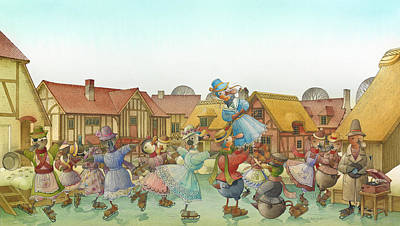 Ducks Painting - The Shaky Knight 06 by Kestutis Kasparavicius