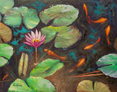 Waterlily Painting - The Shallow End by Eve  Wheeler