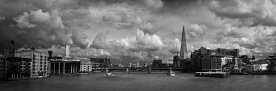 Renzo Piano Photograph - The Shard And The Thames At Southwark Black And White Version by Gary Eason