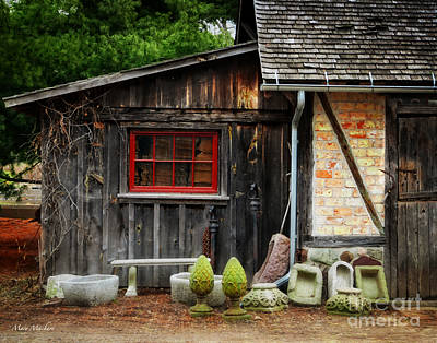 The Shed At Monches Farm Print by Mary Machare