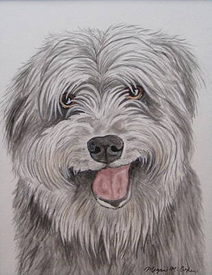 Watercolor Painting - The Sheepdog by Megan Cohen
