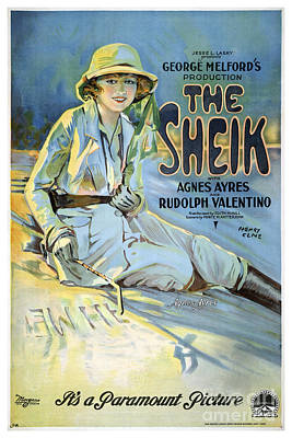 The Sheik With Agnes Ayres And Rudolph Valentino - Movie Poster - 1921 Print by Pablo Romero