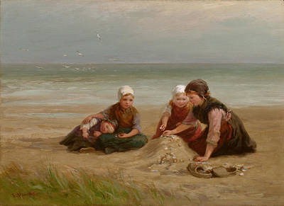 Gatherers Painting - The Shell-gatherers by Edith Hume