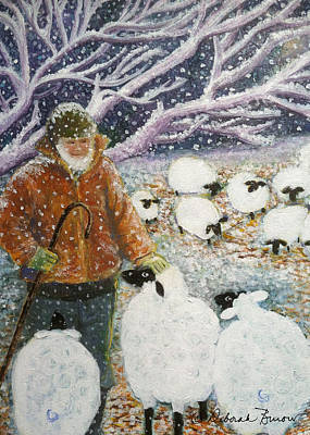 Snowy Night Painting - The Shepherd by Deborah Burow