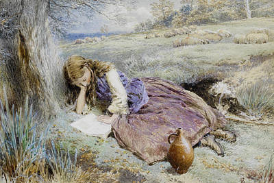 Myles Birket Foster Digital Art - The Shepherdess by Myles Birket Foster