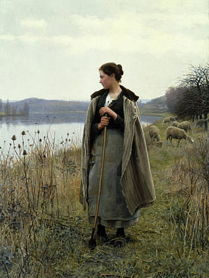 The Shepherdess Painting - The Shepherdess Of Rolleboise by Daniel Ridgway Knight