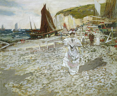 Lady On The Beach Painting - The Shingle Beach by James Kay