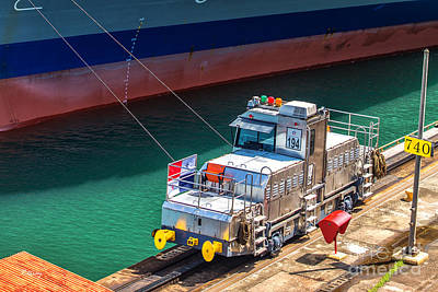 Photograph - The Ship And The Electric Mule Panama Canal by Rene Triay Photography