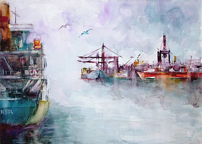Art Print featuring the painting The Ship At Harbor Entrance by Faruk Koksal
