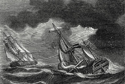 The Ship Of Captain Cook Is Spared Thanks To His Lightning Art Print