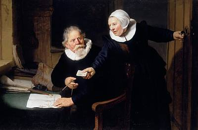 Dutch Painting - The Shipbuilder And His Wife by Rembrandt van Rijn