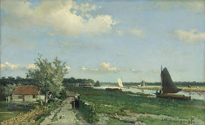 Millstone Painting - The Shipping Canal At Rijswijk  The View At Geestbrug by Johann Hendrik Weissenbruch - L Brown