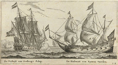 The Ships Freedom And The Greyhound, Print Maker Reinier Art Print