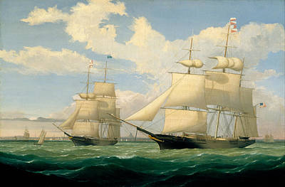 Fitz Painting - The Ships Winged Arrow And Southern Cross In Boston Harbor by Fitz Henry Lane