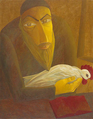 American Jewish Artists Painting - The Shochet With Rooster by Israel Tsvaygenbaum