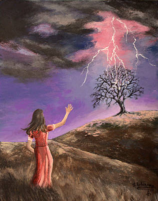 The Shock Of The Lightning  Art Print by Julia Robinson